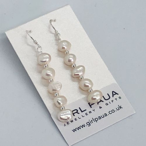 Freshwater Pearl & Silver Bead Long Earrings FE02-WL